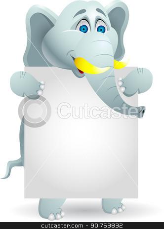 Elephant cartoon with blank sign  stock vector clipart, Vector Illustration Of Elephant cartoon with blank sign  by Surya Zaidan