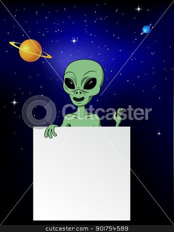 Alien with blank sign  stock vector clipart, Vector Illustration Of Alien with blank sign  by Surya Zaidan