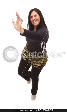 Attractive Hispanic Woman Dancing Zumba on White stock photo, Attractive Hispanic Woman Dancing Zumba on a White Background. by Andy Dean