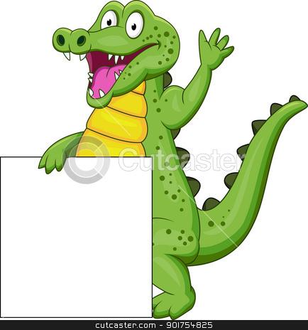 Crocodile cartoon with blank sign  stock vector clipart, Vector Illustration Of Crocodile cartoon with blank sign  by Surya Zaidan
