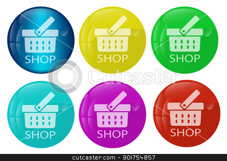 Shop web button colored set stock vector clipart, Vector illustration of a set of the shop home buton kit for multipurpose use in design and creative efforts by Vladimir Repka