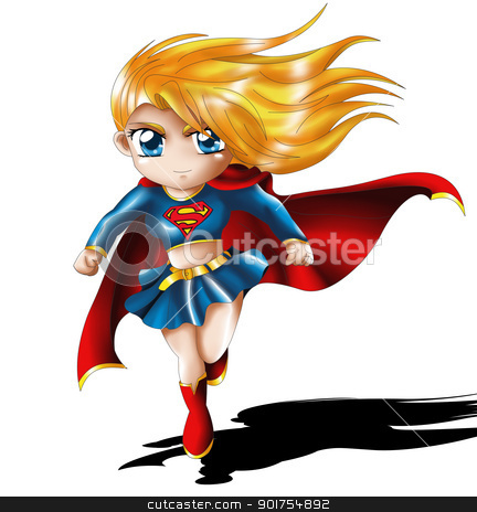Chibi Super Girl stock photo, Supergirl from Superman Comic Character. by Pascal G.