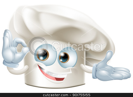 Bakers hat mascot man stock vector clipart, A happy cartoon bakers hat mascot man by Christos Georghiou