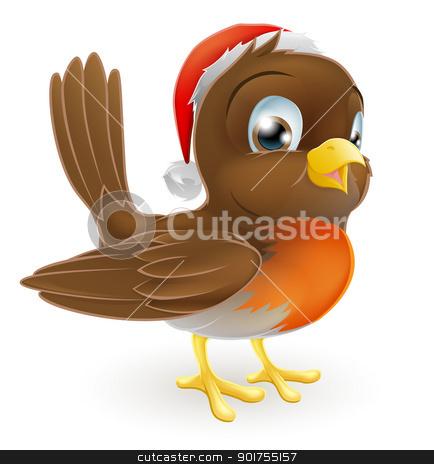 Robin bird in a Santa Hat stock vector clipart, An illustration of a cartoon Christmas Robin in a Santa hat by Christos Georghiou
