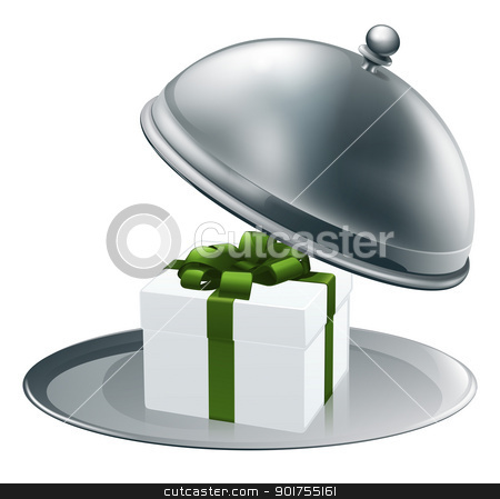 Gift on a silver platter  stock vector clipart, Illustration of a luxury gift on a silver platter tied with green ribbon and bow  by Christos Georghiou