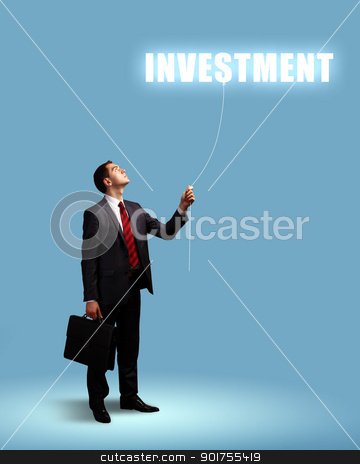 Ideas and creativity in business stock photo, Light bulb and a business person as symbols of creativity in business by Sergey Nivens