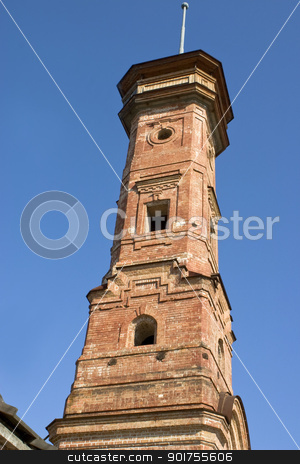 Fire tower. stock photo, High brick building from an old brick. by Yury Ponomarev