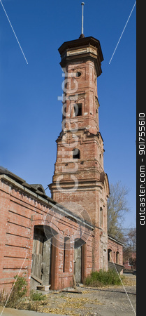 Old fire tower. stock photo, High brick building from an old brick. by Yury Ponomarev