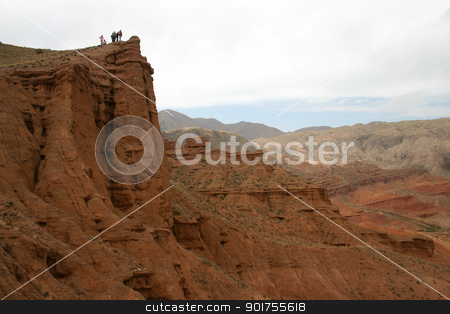 Travel. The mountain country. stock photo, Travel in mountains of Kyrgyzstan. A red canyon. by Yury Ponomarev
