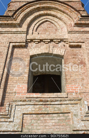 Old brick tower. stock photo, Window in an old brick building. by Yury Ponomarev