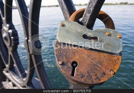 Locks on a lattice. stock photo, The large old lock on a metal lattice. by Yury Ponomarev
