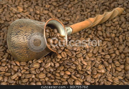 Turkish coffee. stock photo, Turkish coffee pot and coffee beans. by Yury Ponomarev
