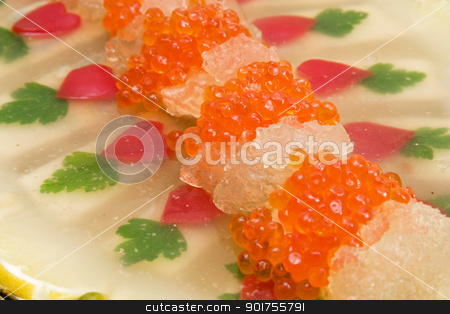 Appetizer from caviar and fish. stock photo, Jellied fish with caviar. by Yury Ponomarev