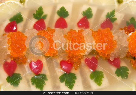 Jellied fish with caviar. stock photo, Fish jellied with red caviar. by Yury Ponomarev