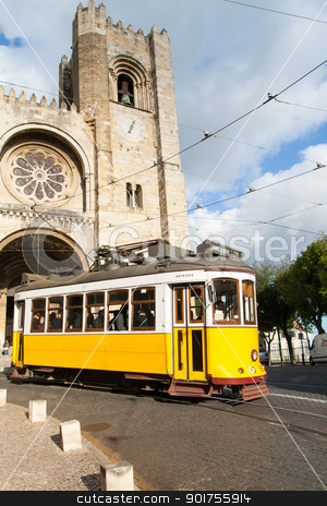 Characteristic tram tour through the streets of Lisbon in Portug stock photo, Characteristic tram tour through the streets of Lisbon in Portugal by Sacha Ferrarelli