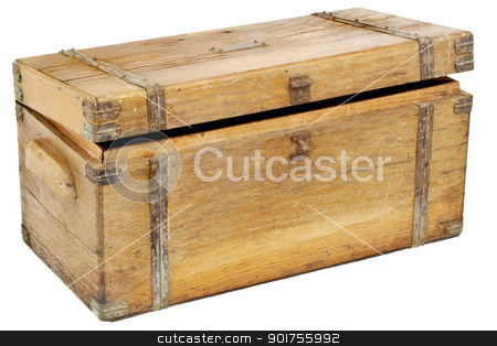 vintage chest or toolbox stock photo, vintage wooden chest or toolbox with brass hardware isolated on white by Marek Uliasz