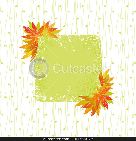 Colorful autumn leaves with seamless pattern background stock vector clipart, Colorful autumn leaves with seamless pattern background by meikis