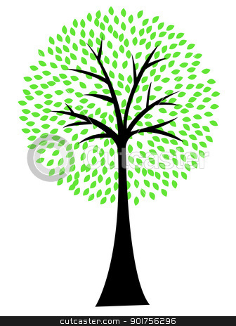 Art tree silhouette isolated on white background  stock vector clipart, Vector Illustration Of Art tree silhouette isolated on white background  by Surya Zaidan