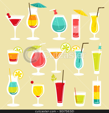 Set of cocktails stock photo, Set of cocktails, vector illustration  by kariiika