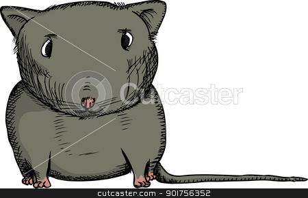 Black Gerbil stock vector clipart, Cartoon of isolated black gerbil staring ahead by Eric Basir