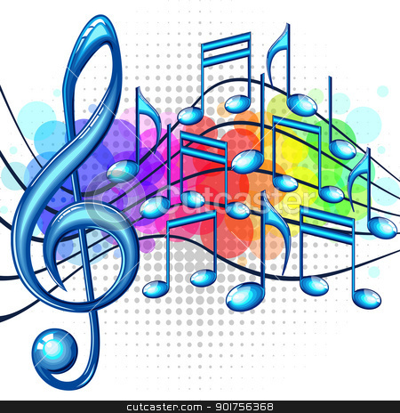 Music background stock vector clipart, Blue glossy music notes on a rainbow background, vector illustration by Ela Kwasniewski