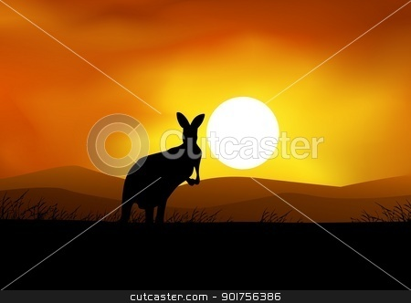 Australia sunset with kangaroo silhouette  stock vector clipart, Vector Illustration Of Australia sunset with kangaroo silhouette  by Surya Zaidan