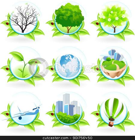 Green Icon Set stock vector clipart, Green Icon Set isolated on white by Vadym Nechyporenko