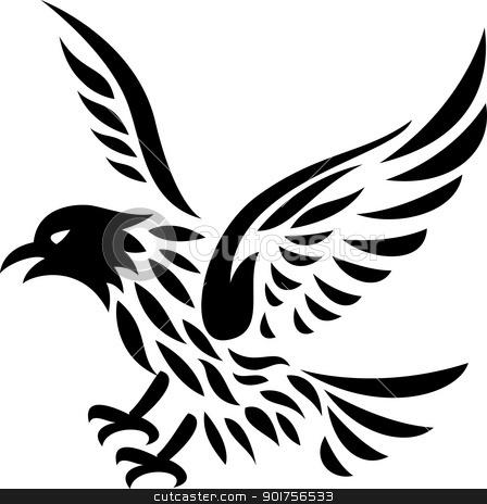 Eagle tattoo  stock vector clipart, Vector Illustration Of Eagle tattoo  by Surya Zaidan