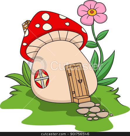 Fantasy mushroom house  stock vector clipart, Vector Illustration Of Fantasy mushroom house  by Surya Zaidan