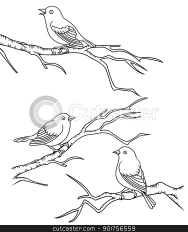 Bird sitting on a branch  stock vector clipart, Vector Illustration Of Bird sitting on a branch  by Surya Zaidan