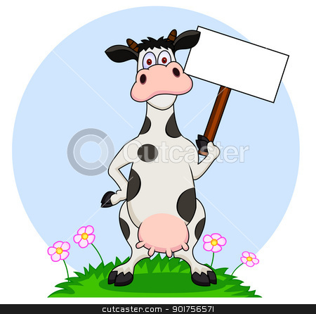 Cow cartoon with blank sign  stock vector clipart, Vector Illustration Of Cow cartoon with blank sign  by Surya Zaidan