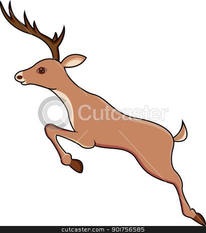 Deer jumping  stock vector clipart, Vector Illustration Of Deer jumping  by Surya Zaidan