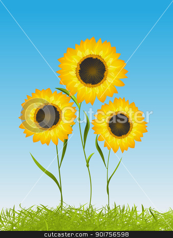 Summer card with sunflowers stock vector clipart, Spring time floral card qith sunflowers in the grass on a clear sly background, graphic art by Richard Laschon