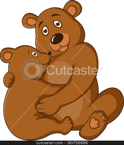 Mother and baby bear  stock vector clipart, Vector Illustration Of Mother and baby bear  by Surya Zaidan