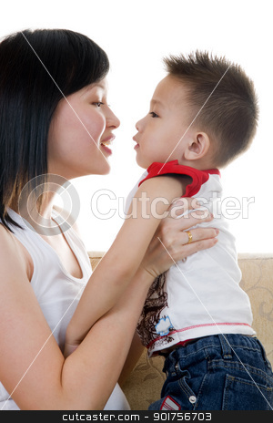 Loving Life with Kids. stock photo, Asian Chinese mother and son. by szefei