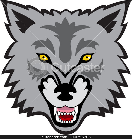 Wolf face  stock vector clipart, Vector Illustration Of Wolf face  by Surya Zaidan