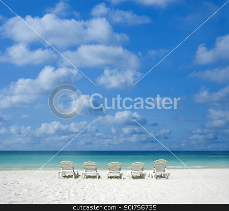 beach with chair.  stock photo, Concept photo of beach with chair.  by szefei