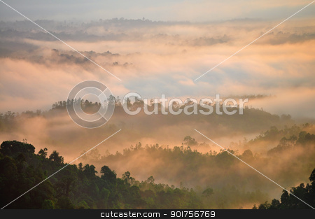 Mountain Range. stock photo, Morning Mist at Tropical Mountain Range, Malaysia by szefei