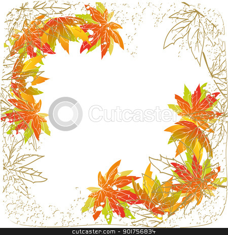 Colorful autumn leaves on white background stock vector clipart,  Colorful autumn leaves on white grunge background by meikis
