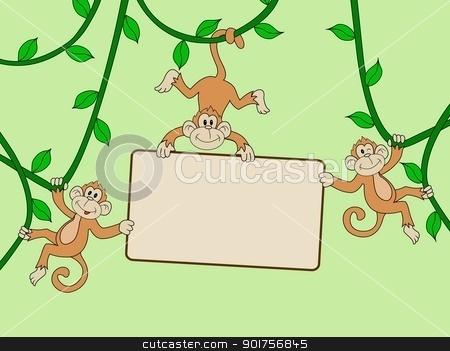 Monkey with blank sign  stock vector clipart, Vector Illustration Of Monkey with blank sign  by Surya Zaidan