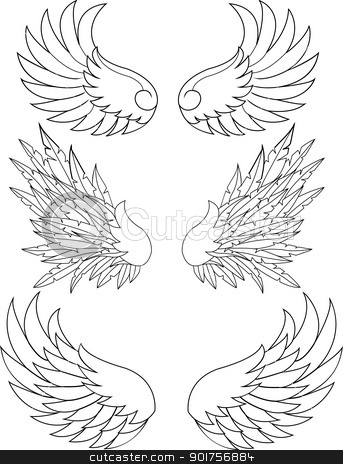 Wings collection  stock vector clipart, Vector Illustration Of Wings collection  by Surya Zaidan