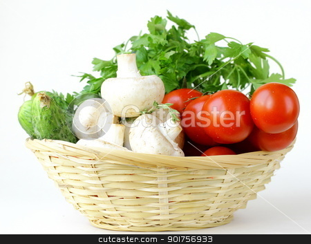 mushrooms, cucumbers, tomatoes and herbs in a basket stock photo, mushrooms, cucumbers, tomatoes and herbs in a basket by Olga Kriger