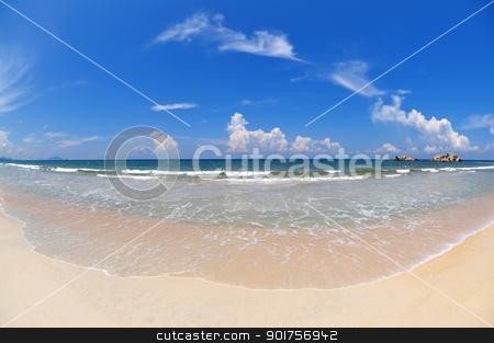 Wide angle beach. stock photo, Tropical Beach with wide angle fisheye view. by szefei