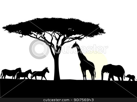 Africa silhouette background stock vector clipart, Vector Illustration Of Africa silhouette background by Surya Zaidan
