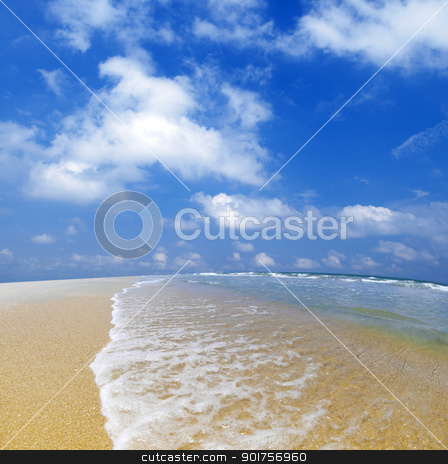 Blue beach. stock photo, Summertime at beautiful blue beach with waves.  by szefei
