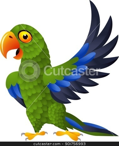 Detailed funny green parrot cartoon  stock vector clipart, Vector Illustration Of Detailed funny green parrot cartoon  by Surya Zaidan