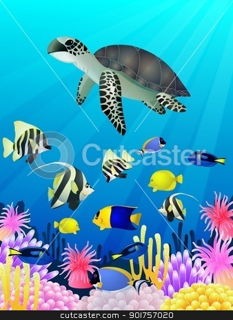 Sea Life Background stock vector clipart, Vector Illustration Of Sea Life Background by Surya Zaidan