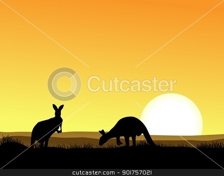 Kangaroo silhouette  stock vector clipart, Vector Illustration Of Kangaroo silhouette  by Surya Zaidan