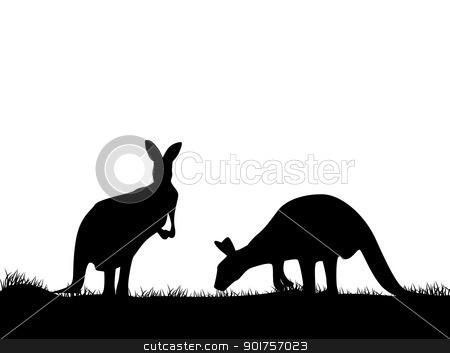 Kangaroo silhouette  stock vector clipart, Vector Illustration Of Kangaroo silhouette  by Surya Zaidan