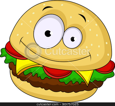 Burger cartoon character  stock vector clipart, Vector Illustration Of Burger cartoon character  by Surya Zaidan